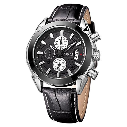 Baogela Black Dial Chronograph Army Miltary Black Sport Quartz Wrist Watch with Leather Strap