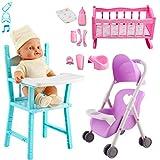 deAO Mein erstes Baby Doll Kindergarten Spielset Spielzeug Kinderbett Kinderbett Kinderwagen Hochstuhl Dolly Spielset Baby Doll mit Zubehör & Sounds