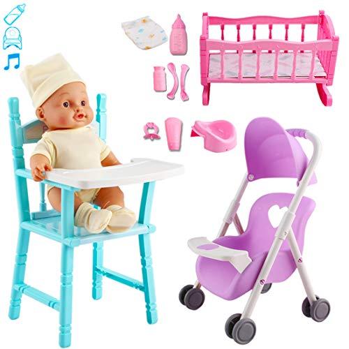 deAO Ensemble de Jeu 'Ma première poupée' Comprenant Un Berceau, Une Poussette, Une Chaise Haute, des Accessoires et Une poupée avec Fonctions Audio