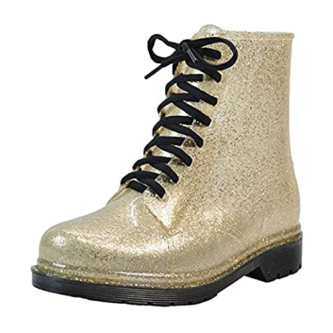Azbro Women's Color Block Round Toe Lace up Shining Rain Boots, Golden EURO36/US5/UK3 (5 Attach Fall)
