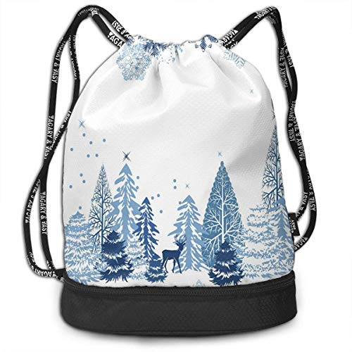 nbvnc Cinch-TascheTurnbeutelDrawstring Backpacks Bags,Winter Scene with Deer Frozen Trees and Snow Christmas Season Pine Trees Bushes,Adjustable Light Casual Daypack for Shopping Sport Yoga