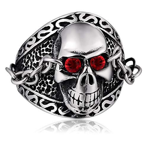 Knsam anello da uomo anello in acciaio inox scheletro chain con cz argento  dimensione 30 320e71c6cf6