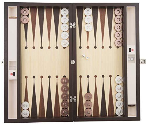 Handgefertigtes Backgammon-Set aus Leder und Holz, Perlsteine und Beutel, Era35 Wenge, hergestellt in der Türkei. -