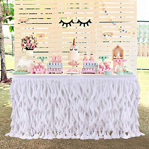 HBBMagic Lockiger tüll tischrock Weiß für runden oder rechteckigen Tisch, Handgefertigte TAFT-Tischrock Für Hochzeit, Geburtstag, Baby Shower, Feier Tischdekoration - Handgefertigte Tische