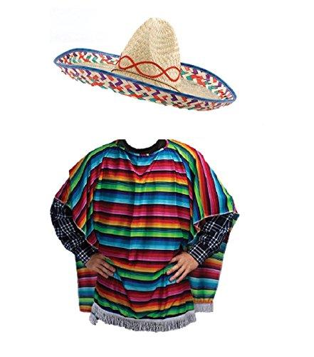 stern Bandit Kostüm Sombrero Poncho Outfit ()