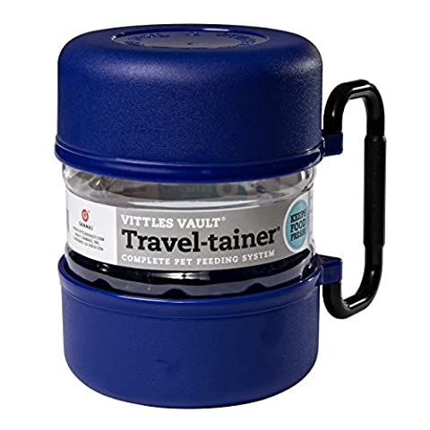 Gamma Travel Trainer 2 Bowls Plastic Container Blue Holds 3qt Feeding System