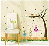 Habitación de los niños de Kindergarten Etiqueta Adhesiva Decorativa Dormitorio Cabeza de Cama Valla Nido de Pájaro Patalear Línea de Pata Cintura Pared Pasta Sk9085