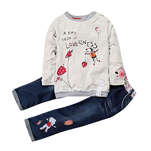 feiXIANG Kinder Langarm Top + Jeans zweiteiliges Set Brief Cartoon Print Kinderkleidung Outfits(Grau,130) -