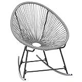 SOULONG Chaise balancelle de Jardin Acapulco à Bascule en Acier Poly rotin Chaise Longue d'extérieur Fauteuil à Bascule de Jardin extérieur, 72,5 x 77 x 90 cm