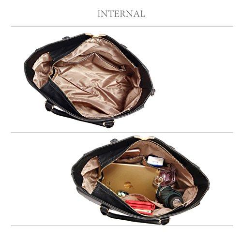 LeahWard® Damen Fashoin Essener Berühmtheit Schulter Handtasche Schnell verkaufend Qualität Kunstleder Tragetaschen mit Gurt CWS00233B CWS00420 CWS00420-Schwarz/nackt