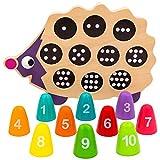 Natureich Igel Montessori Mathe Spielzeug aus Holz zum Zahlen Lernen, Bunt / Natur ab 3 Jahre für die frühe Motorik Entwicklung & Ausbildung ihres Kindes (Schwarz)