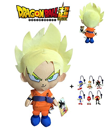 PELUCHE GOKU SUPPER SAIYAN DRAGON BALL SUPER 30 CM + LLAVERO SONIC