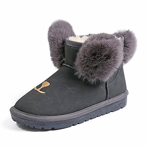 HSXZ Scarpe donna Fleece Winter Snow Boots stivali tacco piatto per esterni Grigio Nero Marrone scuro Dark Brown