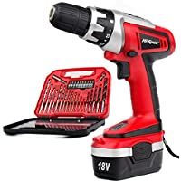 Hi-Spec 18V Pro Combo Cordless Drill Driver with 1000 mAh Ni-MH Battery, 17 Position Keyless Clutch & 30 Piece Drill and Screwdriver Bit Accessory Set in Compact Storage Case