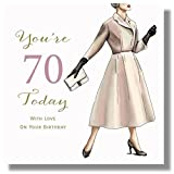 Unbekannt Happy 70th Geburtstagskarte für Frauen–21x 21cm