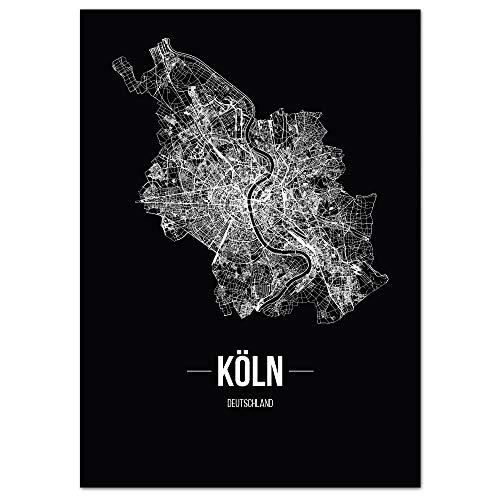 JUNIWORDS Stadtposter, Köln, Wähle eine Größe, 30 x 40 cm, Poster, Schrift B, Schwarz