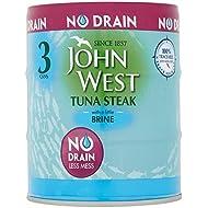 John West Tuna Steak with a Little Brine No Drain, 3x110g