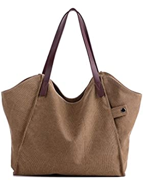 Losmile Damen Leinwand Handtasche Schultertasche Hobo Shopper Strandtasche Handgelenkstasche