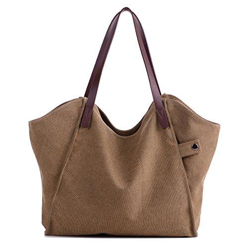 Losmile Damen Leinwand Handtasche Schultertasche Hobo Shopper Strandtasche Handgelenkstasche (Braun)