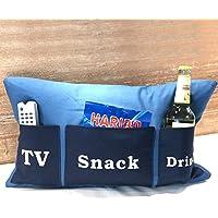 Sofakissen mit Taschen 50x30 cm blau (TV, Snack, Drink) | Kissen, Sofakissen, Kuschelkissen blau | Handarbeit