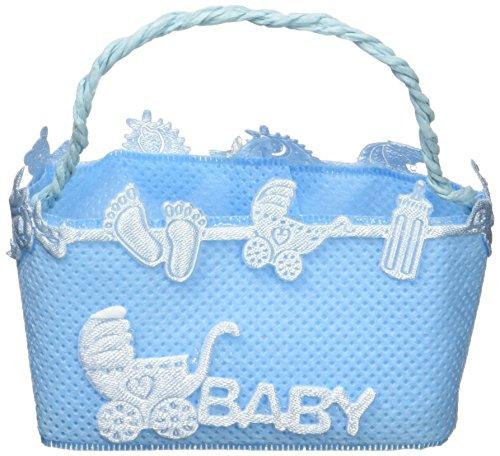Mopec a92.03-Einkaufskorb Bast in Blau mit Kindermotiven, 12-er Pack