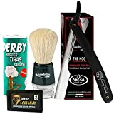 Traditional Shaving Kit. Straight Razor plus Omega Shaving Brush, 5 Double Edge Blades and Derby Soap Stick 70gr