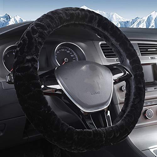 ZXPT Volant D Volant Noir Auto Couvre Volant en Cuir Couvre-Roue 38Cm Accessoires Intérieurs