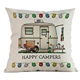 Winkey Kissen Fall, Happy Camper Baumwolle Leinen Kissen Fall Auto Sofa Home Decorative Geometrische Werfen Kissenbezug, Best Geschenke, antiallergen, antibakteriell, Kissenschoner 45,7 x 45,7 cm, a, 45 * 45cm