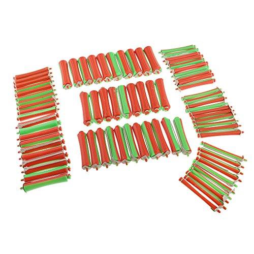 MagiDeal 80Pcs Bigoudis Cheveux Rouleaux Roller Plastique Souples Outils de Coiffure Salon Coiffure DIY Tools - 8 Tailles