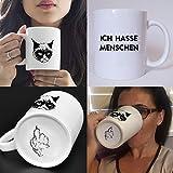 Lustig bedruckte Tasse mit Katzenmotiv und SpruchIch hasse Menschen. Die perfekte Kaffeetasse für Katzenliebhaber, Männer, Frauen, Kollegen, perfekt zum Frühstück oder in der Kaffeepause