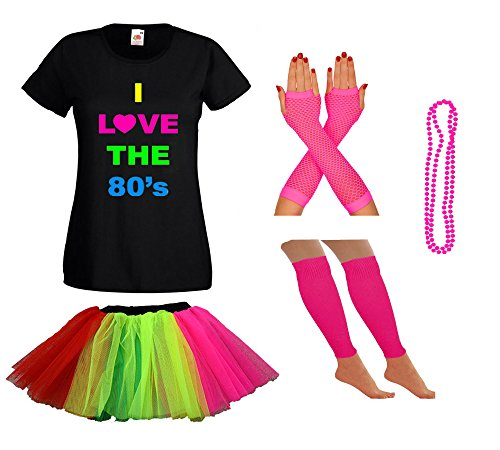 Ladies I Love the 80s Shirt and Skirt Set