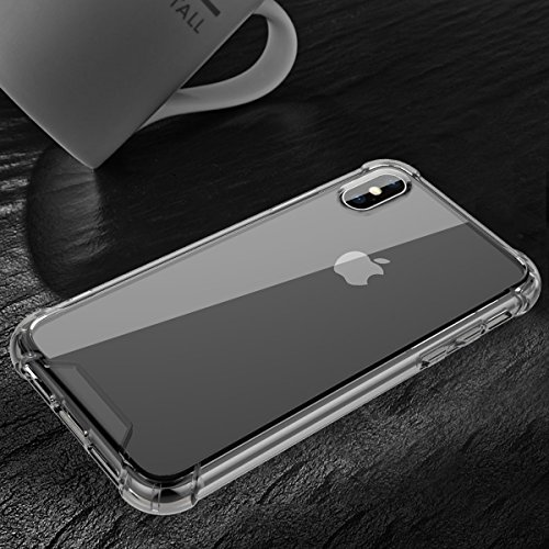 GrandEver iPhone X Weiche Silikon Hülle & PC Hart Rückseite Durchsichtige Rückschale TPU Bumper Transparent Schutzhülle Klar Matte Handytasche Anti-Kratzer Stoßdämpfung Ultra Slim Rückseite Silicon Ba Schwarz