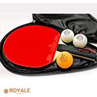 Royale Dominican Professional Table Tennis Bats (Bat, Cover, Balls) Premium Quality Certified Set Ping Pong Racket Paddle with Protective Case and 3 Brand Balls