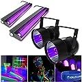 beamz 2x UV PAR Can Glowing Blacklight DJ Lights + 2x Fluorescent Tube Lighti.