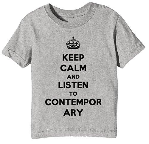Keep Calm and Listen to Contemporary Country Kinder Unisex Jungen Mädchen T-Shirt Rundhals Grau Kurzarm Größe XS Kids Boys Girls Grey X-Small Size XS