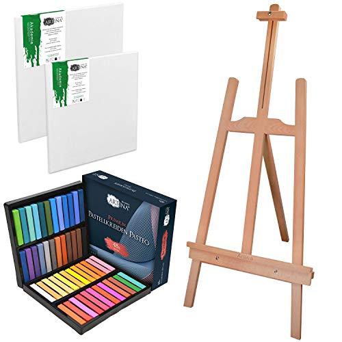 Artina Lille - Set de Pintura Completo para niños - Caballete de Pintura, Set de 48 Colores Pasteles y 2 lienzos