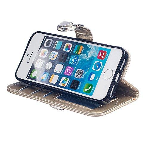 Rabat Style iPhone SE Coque Cuir Portefeuille ( Blanc ), Grille Apparence Mode Housse de Protection Apple iPhone 5 5S SE, Métal Magnétique Fermeture Carte Titulaire Matériel Flexible Slap-up Case Or