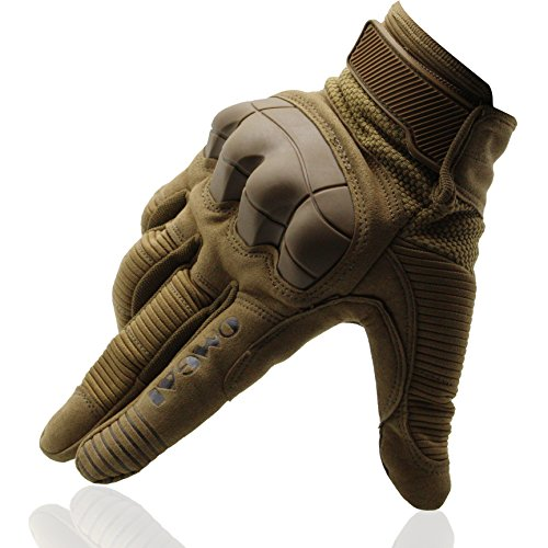 OMGAI Tech Touch Gloves, Mens Full Finger Protective Smart Gloves for Motorcycle Riding Cycling Off Road Climbing Outdoor Sports with Velcro Brown XL