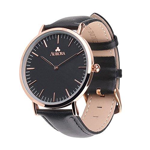 Aurora Damen Frauen Uhr Metall Analog Schwarz Zifferbluarz Armbanduhr Quarz Armbanduhr elegant Quarzuhr modisch mit schwarz Leder band