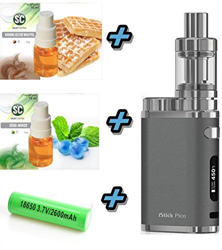 Elektronische Zigarette Pico iStick 75W Starterset 2600mAh | Top Refill 0.5 ohm | TC (Temperaturregelung) mit Integriertem Sony Akku | Eleaf mit SC Liquids - 00 mg Rauchen ohne Nikotin