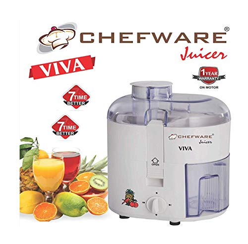 Chefware Appliances Viva Electric Juicer,100% Pure Copper Motor,Unbreakable ABS Body,White