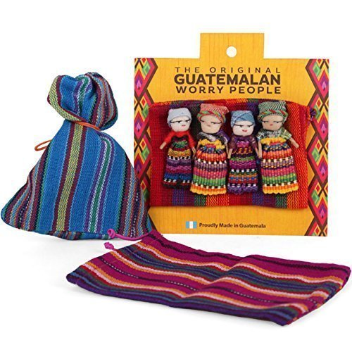 Guatemalan Worry Doll Set of 4 in Colourful Bag by ukgiftstoreonline