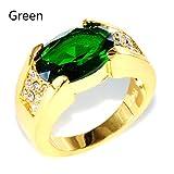 YHLVE Damen Ring Gold Zirkonia Diamant Ring Hochzeit Verlobung Valentinstag Souvenir Geschenk, Grün 1, 12