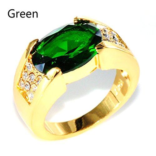 CARDMOE Kristall Gold Farbe Hochzeit Band Ringe Schmuck Diamant Ring lunxury Gravur Edelstahl Herren Ring, grün, 10