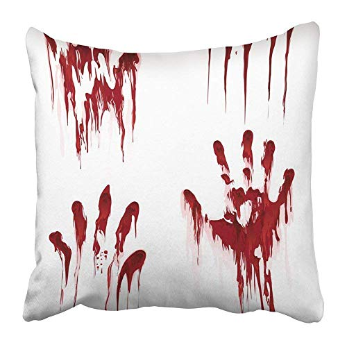 Throw Pillow Covers Print Red Splatter Bloody Hand White Horror Scary Blood Dirty Handprint and Fingerprint Halloween Splash Polyester 18 X 18 Inch Home Decor Pillow Case
