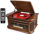 D & L 7-in-1 DAB Plattenspieler Vintage Holz mit Bluetooth, UKW-Radio, integrierte Stereo-Lautsprecher, CD / MP3 / Cassette Spielen, USB Play & Encoding