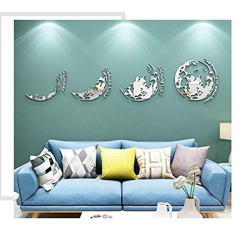 GWXLDWALL Wall Stickers Arte DIY 3D Specchio Acrilico Smontabili della Parete della Decalcomania della Decorazione Domestica per Camera Gold L