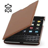 StilGut Book Type Case, dünne Hülle Leder-Tasche für BlackBerry Passport. Seitlich klappbares Flip-Case aus Echtleder für BlackBerry Passport, Cognac