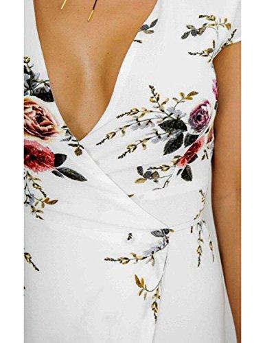 Modetrend Femmes Robe de Plage Bohême Manche Courte Été Rétro Imprimé Floral Col V Profond Asymétrique Robe en Vacances Blanc