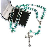 Large-extra Forte rosario vetro verde, in confezione regalo